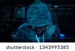 hacker working in the darkness | Shutterstock . vector #1343995385