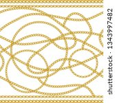 baroque border golden chains. ... | Shutterstock .eps vector #1343997482