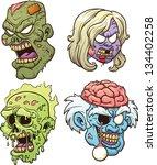 cartoon zombie heads. vector... | Shutterstock .eps vector #134402258