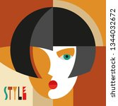 fashionable stylish woman.... | Shutterstock .eps vector #1344032672