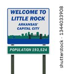 welcome to little rock road sign | Shutterstock .eps vector #1344033908