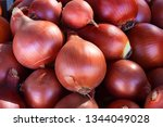 close up of onions in market...