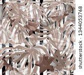 monstera pattern.  exotic palm... | Shutterstock .eps vector #1344053768