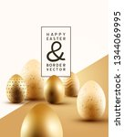 a collection of golden easter...   Shutterstock .eps vector #1344069995