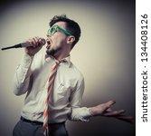 funny stylish businessman...   Shutterstock . vector #134408126