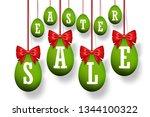 easter egg sale 3d icons set.... | Shutterstock .eps vector #1344100322