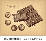 bar of milk chocolate with... | Shutterstock .eps vector #1344134492