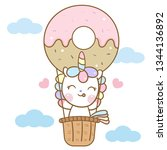 Stock vector cute unicorn vector on sky with donut air balloon cartoon pastel color white background kawaii 1344136892