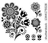 floral vector design  folk art... | Shutterstock .eps vector #1344175028