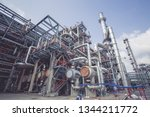 heat exchangers in a refinery.... | Shutterstock . vector #1344211772