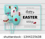 happy easter holiday design. 3d ... | Shutterstock .eps vector #1344225638