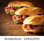 assorted delicious baguette... | Shutterstock . vector #134422925