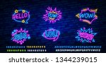 big set of comic speech bubble...   Shutterstock .eps vector #1344239015