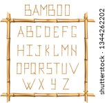 vector bamboo alphabet. capital ... | Shutterstock .eps vector #1344262202