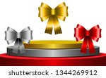 red ribbon silver ribbon and... | Shutterstock .eps vector #1344269912