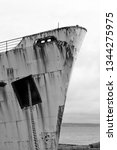 rusty ship black and white | Shutterstock . vector #1344275975