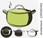 soup pan  pot of hot soup icon... | Shutterstock .eps vector #1344281402