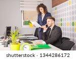 business couple working... | Shutterstock . vector #1344286172