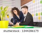 business couple working... | Shutterstock . vector #1344286175