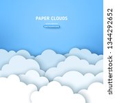 beautiful fluffy clouds on blue ... | Shutterstock .eps vector #1344292652