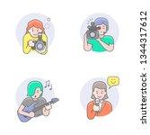 flat line icons set of media... | Shutterstock .eps vector #1344317612