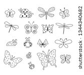 Black Outline Butterfly And...