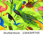 seamless pattern with tropical... | Shutterstock .eps vector #1344349745
