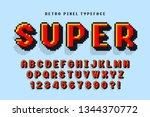 pixel vector font design ... | Shutterstock .eps vector #1344370772