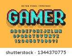 pixel vector font design ... | Shutterstock .eps vector #1344370775