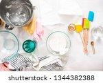 flat lay. making royal icing to ... | Shutterstock . vector #1344382388