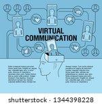 scheme virtualnoy the internet...   Shutterstock .eps vector #1344398228