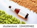 brown beer mockup with diagonal ... | Shutterstock . vector #1344399482