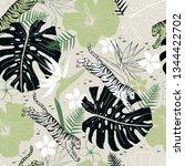 vector seamless tropical... | Shutterstock .eps vector #1344422702