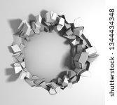 dark destruction cracked hole... | Shutterstock . vector #1344434348