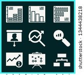 set of 9 chart filled icons... | Shutterstock .eps vector #1344438218