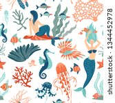 magic fantasy marine life hand... | Shutterstock .eps vector #1344452978