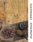 cacao beans  cacao powder and... | Shutterstock . vector #1344462452