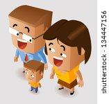 happy family. vector... | Shutterstock .eps vector #134447156