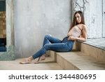 beautiful girl sexy brunette in ... | Shutterstock . vector #1344480695