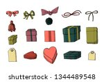 set of gift wrapping  boxes and ...   Shutterstock .eps vector #1344489548