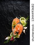 fresh  raw salmon steaks with... | Shutterstock . vector #1344493682