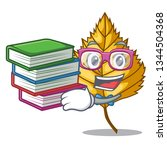 student with book birch leaves... | Shutterstock .eps vector #1344504368