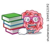 student with book carnations... | Shutterstock .eps vector #1344512192