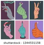set of funny hand sign cartoon...   Shutterstock .eps vector #1344531158