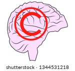brain under lock and key ... | Shutterstock .eps vector #1344531218