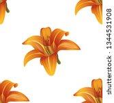orange daylily. vector... | Shutterstock .eps vector #1344531908