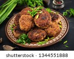 juicy delicious meat cutlets on ... | Shutterstock . vector #1344551888