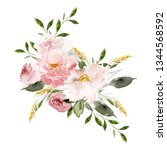 greeting card with watercolor... | Shutterstock . vector #1344568592
