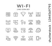 set line icons of wi fi... | Shutterstock . vector #1344569795