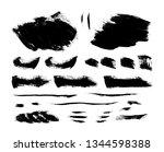 set of black paint  ink brush ... | Shutterstock .eps vector #1344598388
